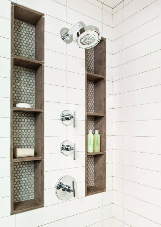 white tile shower with shelving