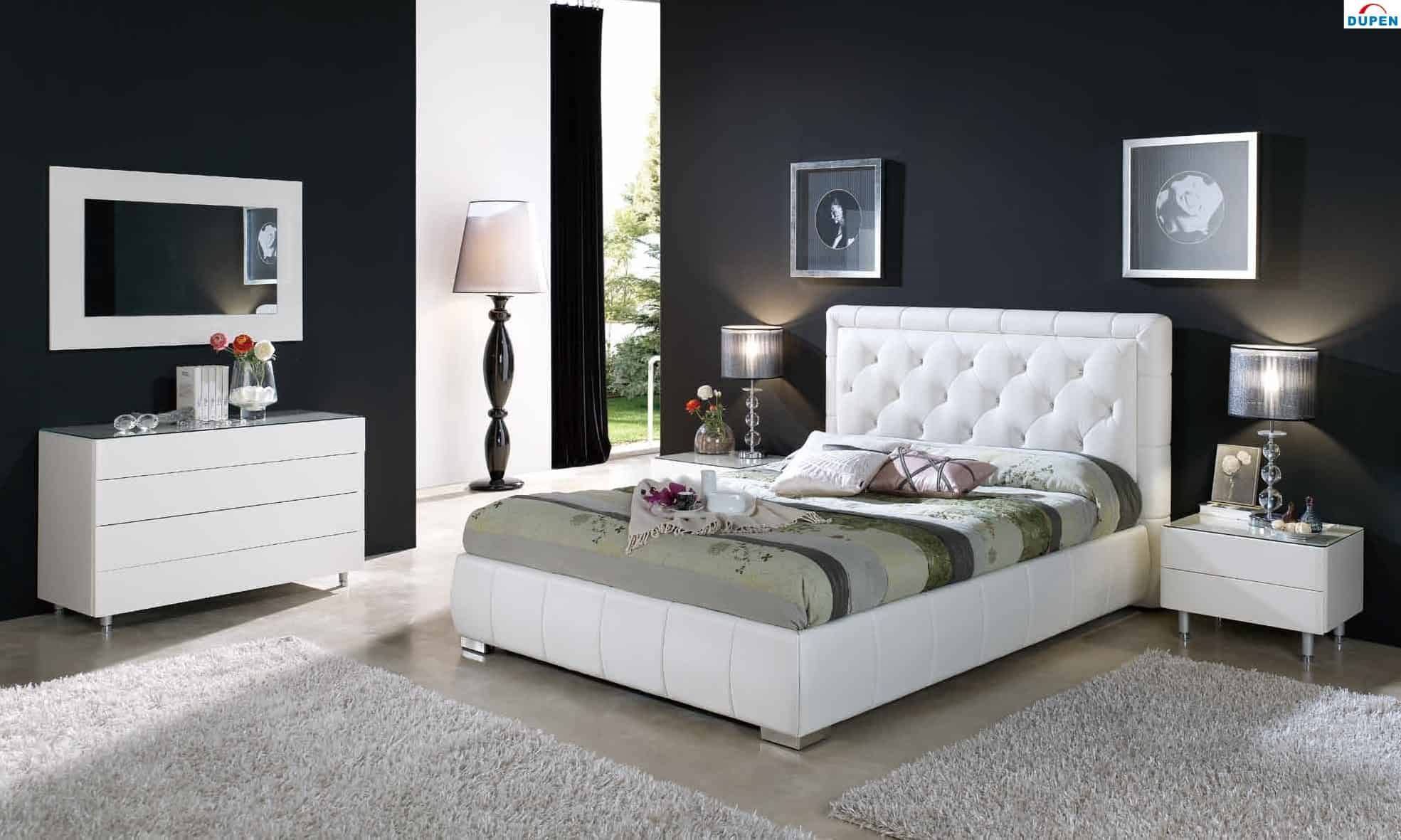 white tufted contemporary bed