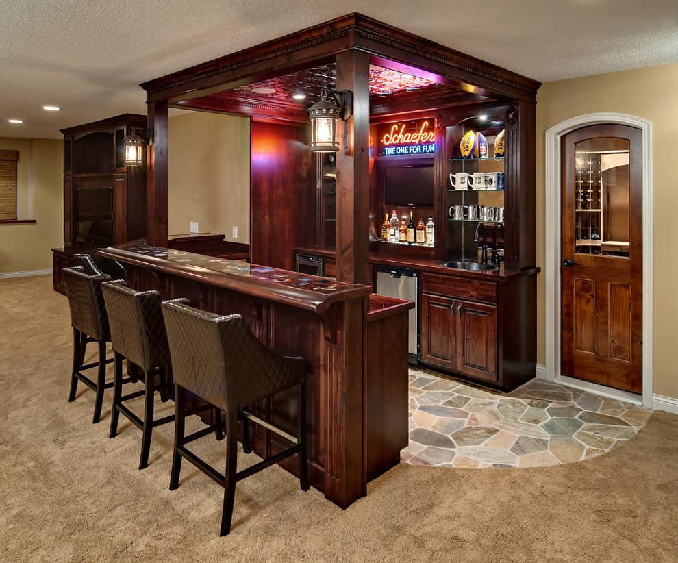 Basement-Bar-Ideas-Diy-And-Cozy-Wooden-Barstools-And-Rustic-Floor-Tile-For-Basement-Bar-Ideas