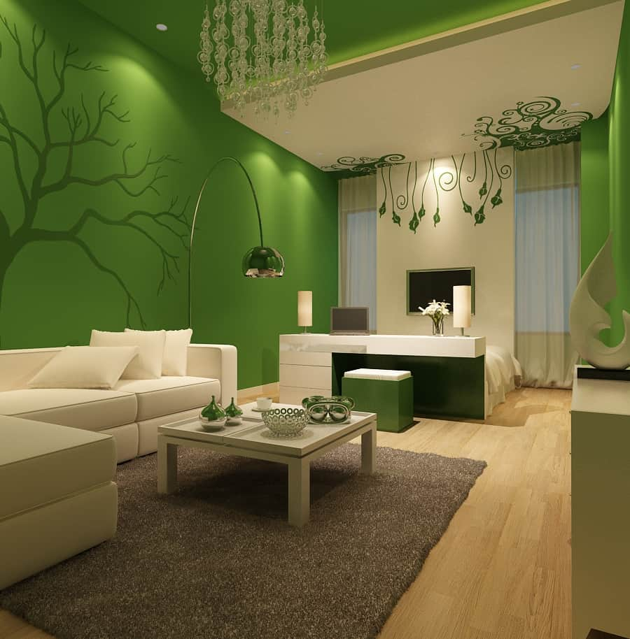 Brigth green interior design