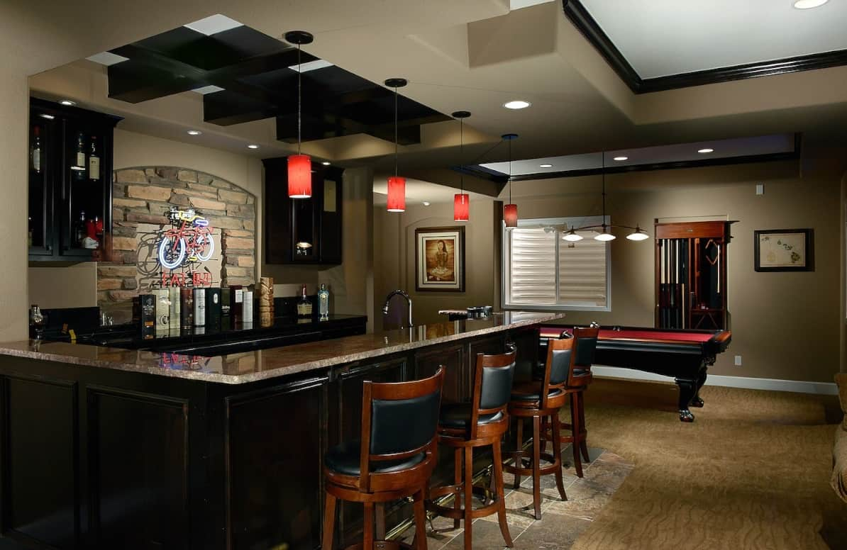 Interesting-Basement-Bar-Ideas-For-Small-Spaces-And-Eye-Catching-Home-Interior-Basement-Bar-Ideas-Showing-L-Shaped-Kitchen-Island-And-Wooden-Stools