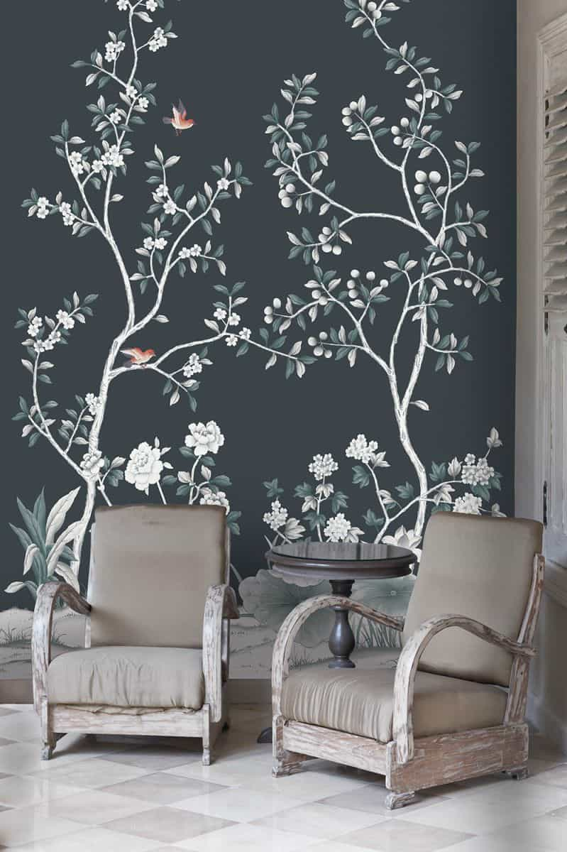accent wall with asian-inspired floral print