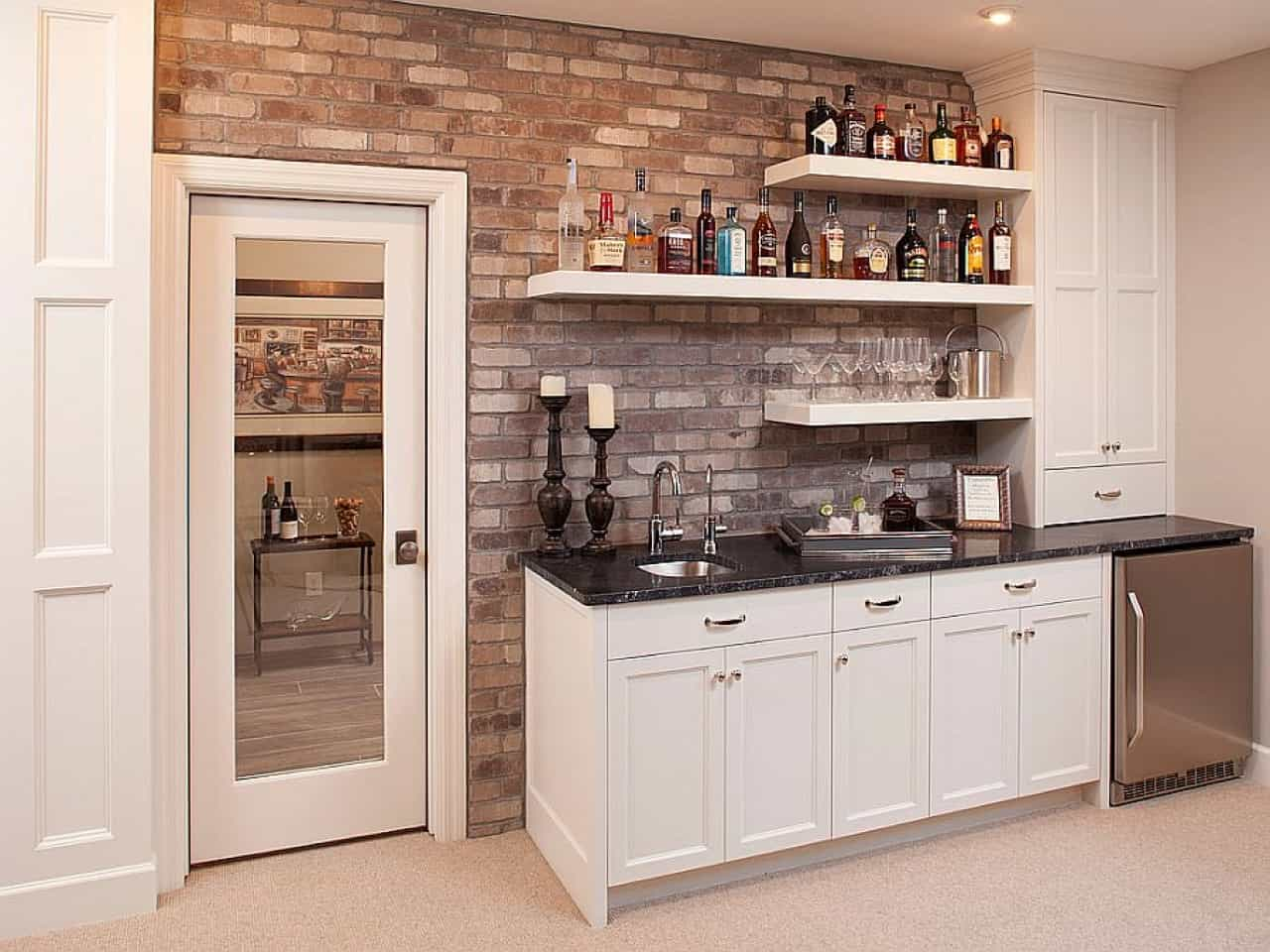 A stone focal wall can upgrade your bar space as it brings in a different look into the room the bar is placed it.