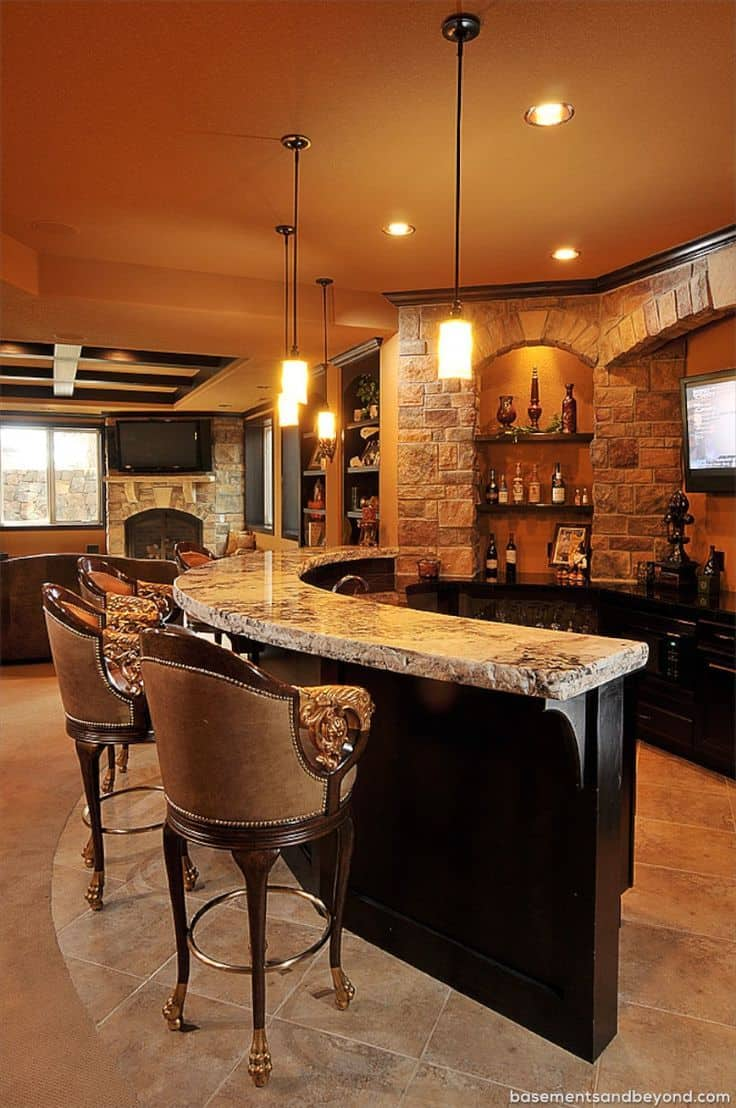Basement Bar Ideas Stone.