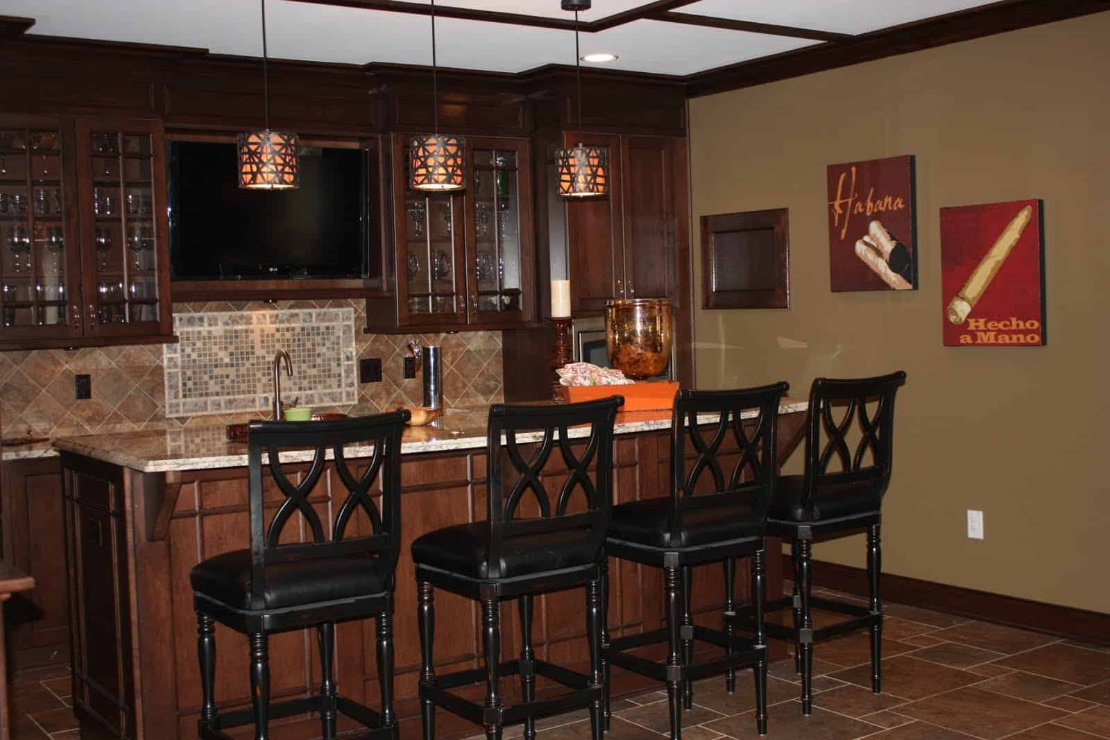 dark wood basement bar