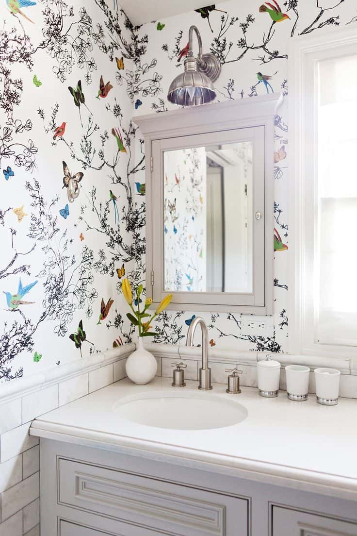 floral butterfly wallpaper in guest bathroom
