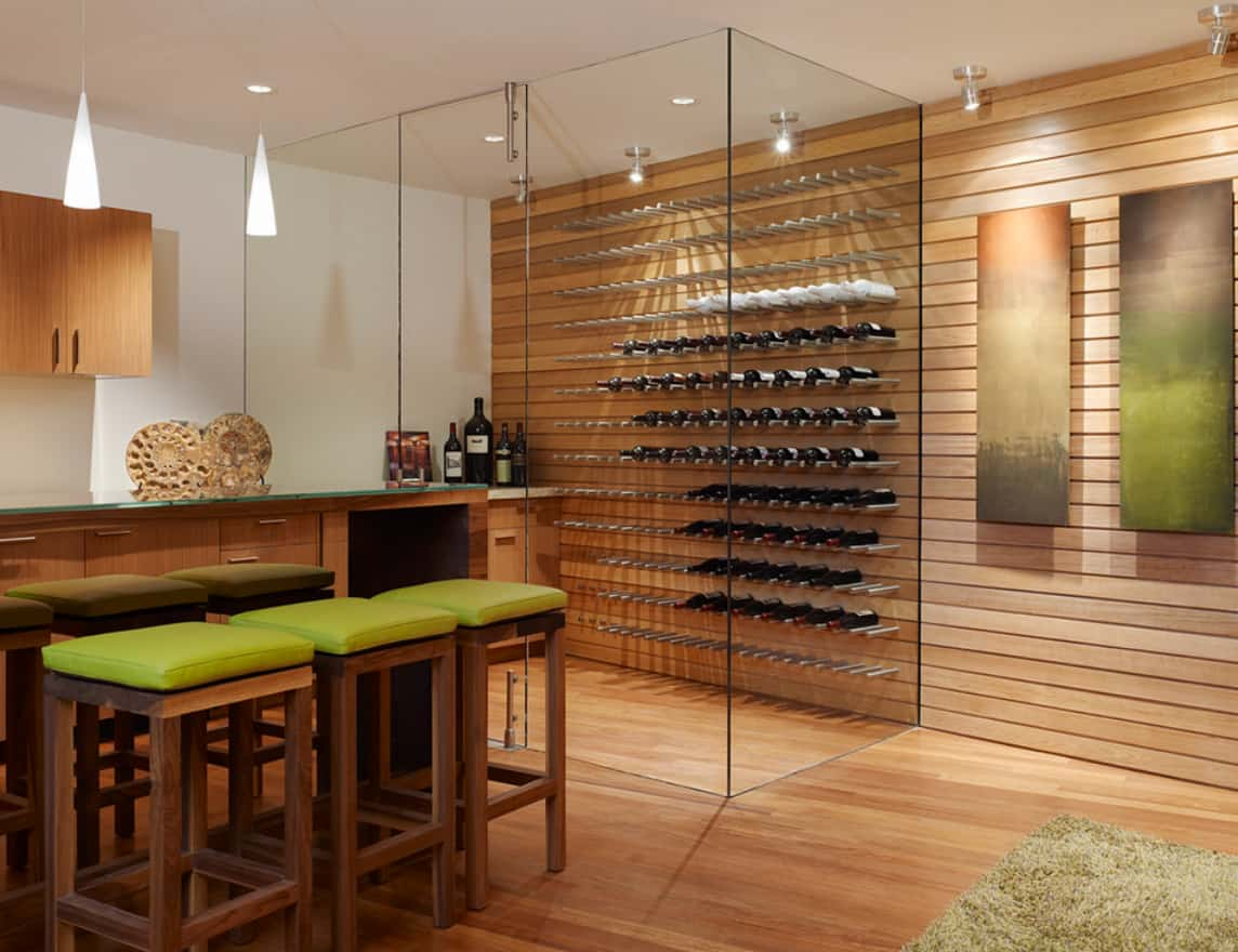 Take it a step further and create a glass wine cellar that will showcase your wine collection in a more upscale manner
