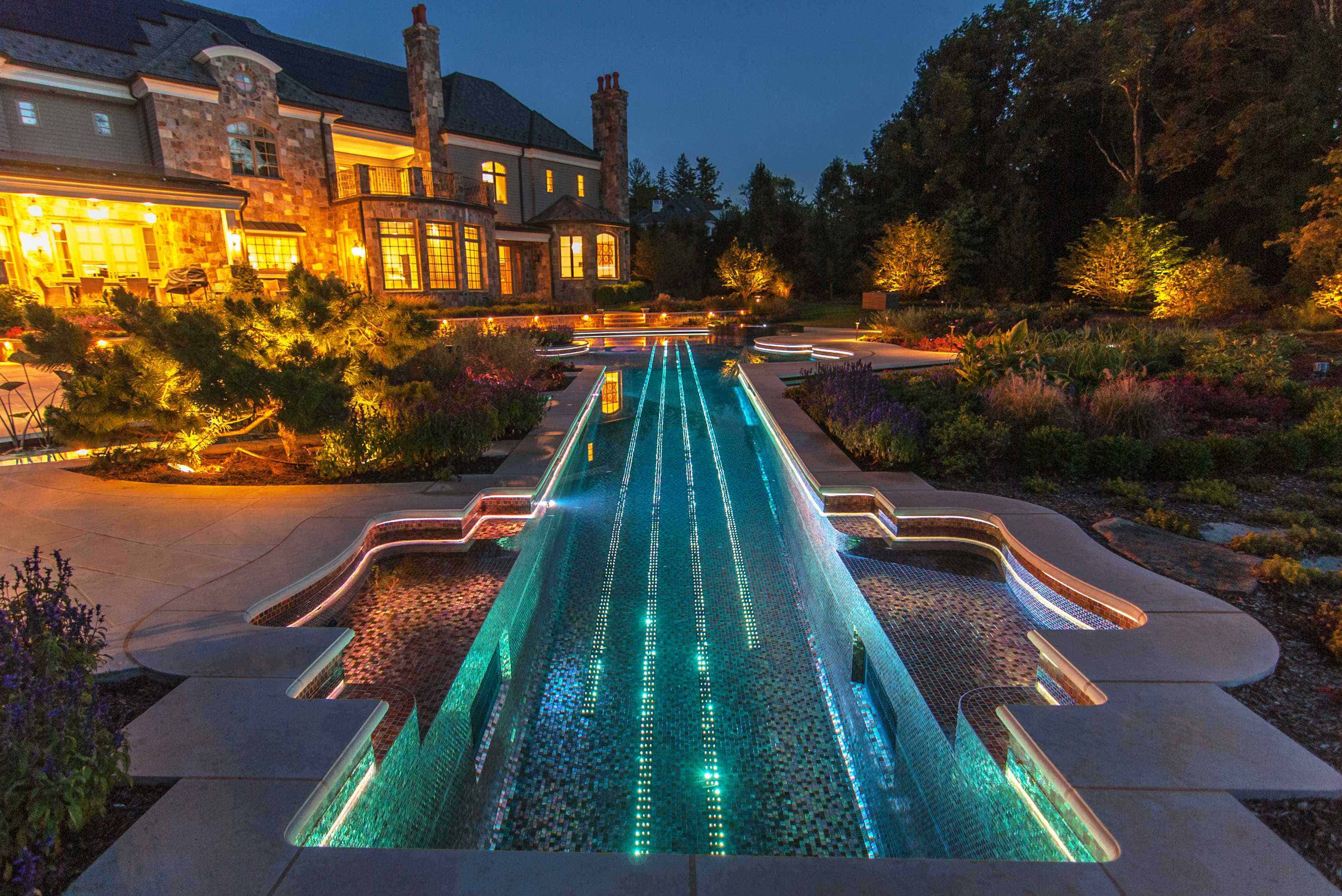 light up elongated pool design