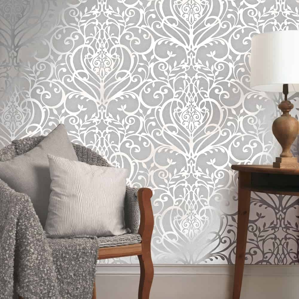 Many metallic wallpapers feature some sort of eye catching design
