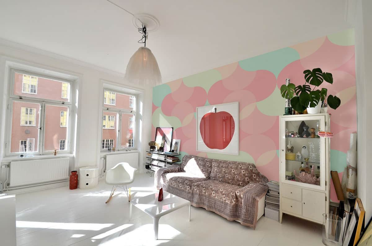 Pastel tone wallpaper can bring a softness to your living space that may be difficult to achieve otherwise.