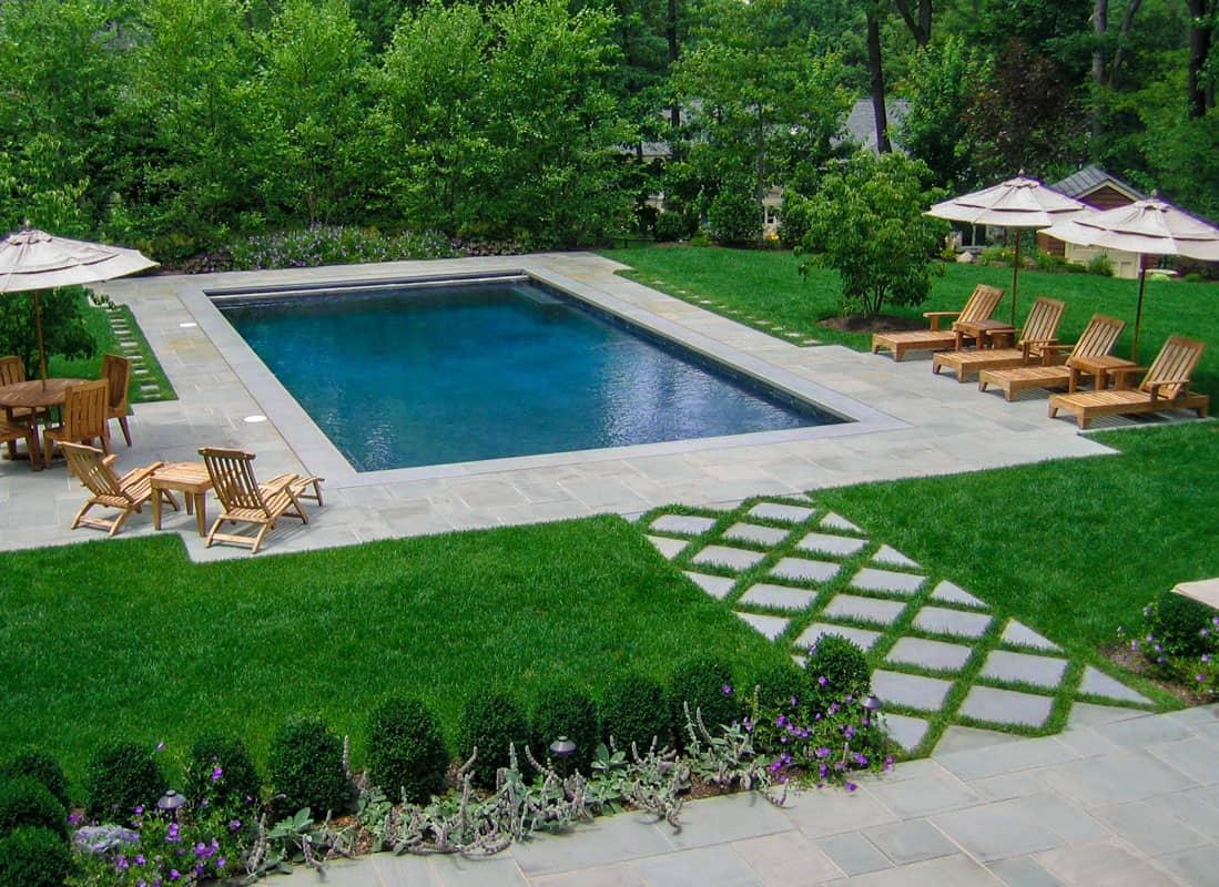 rectangle inground pool design small