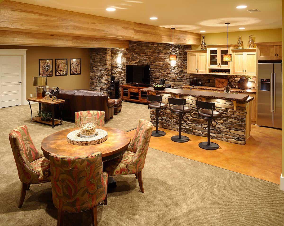 stone basement bar design