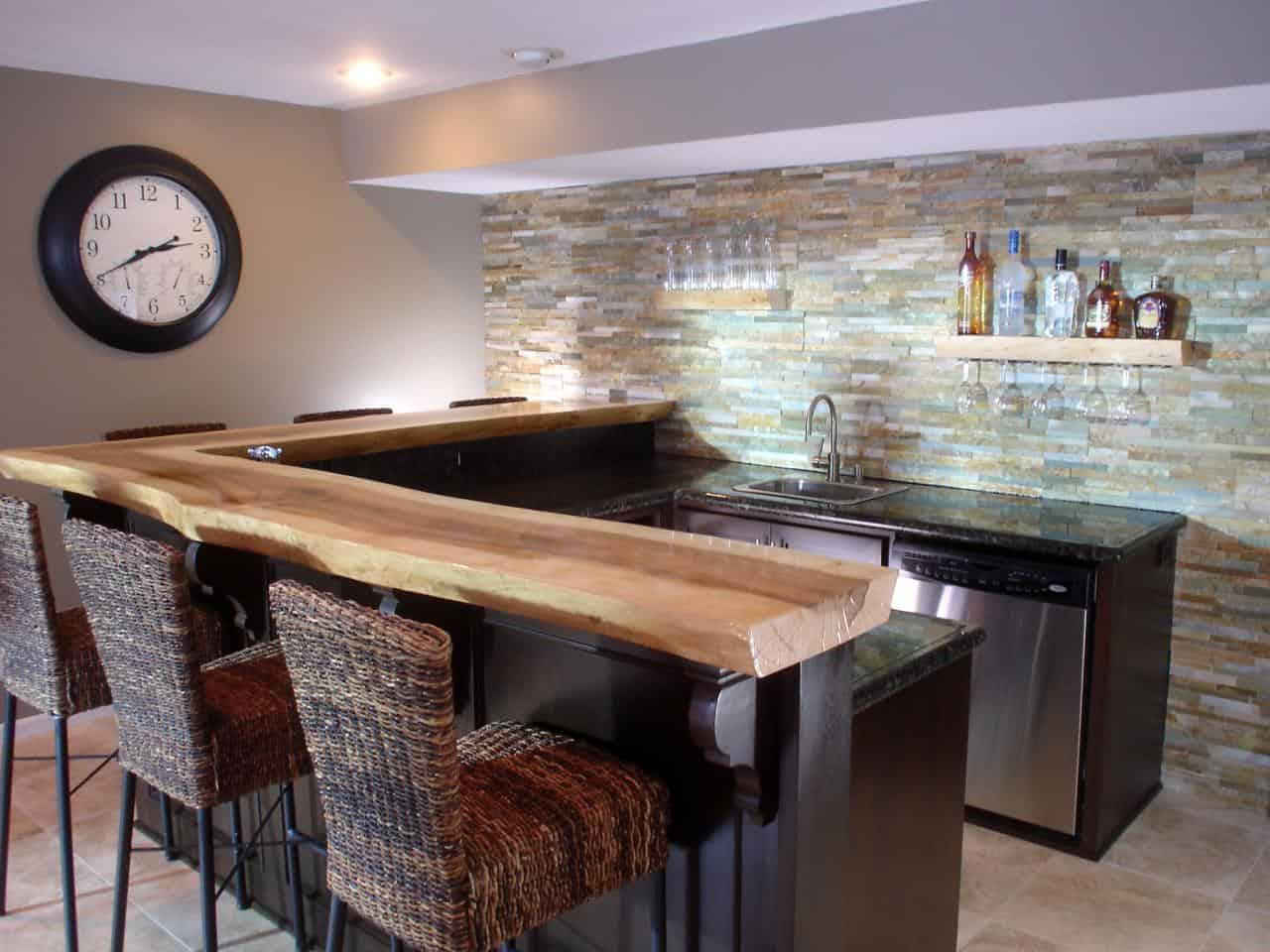 textural basement bar design