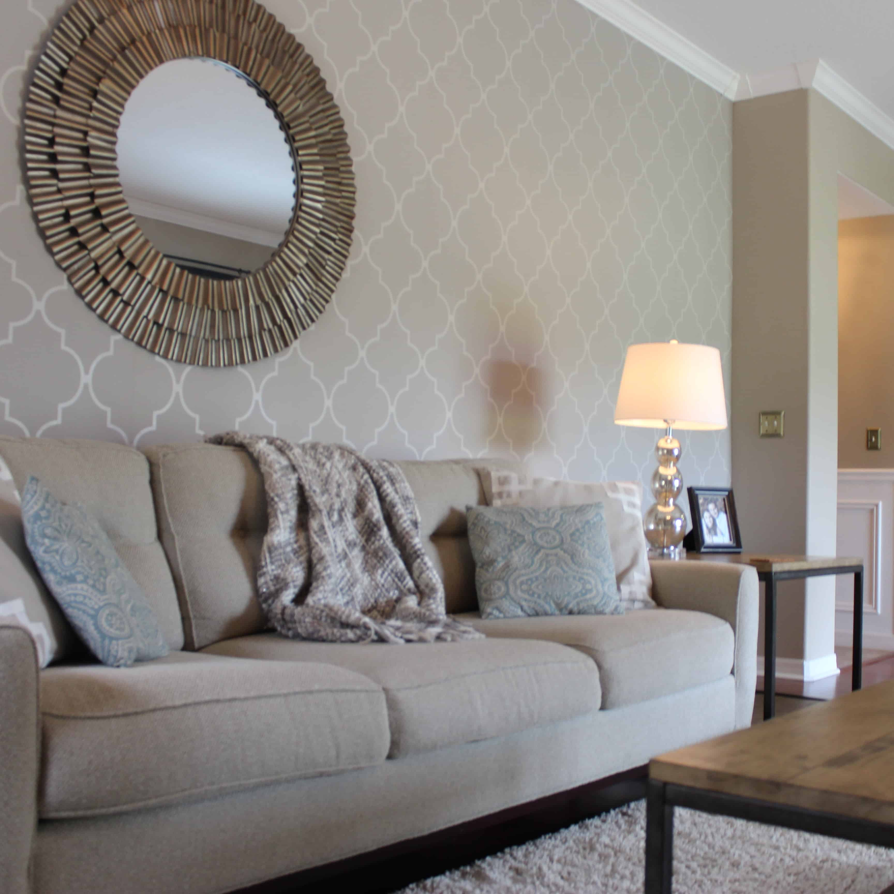 traditional trellis print accent wall with wallpaper
