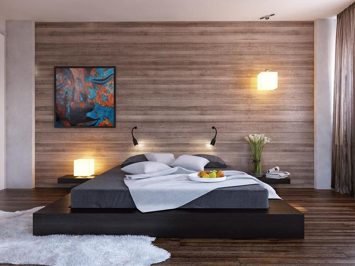 wood panel wallpaper design idea
