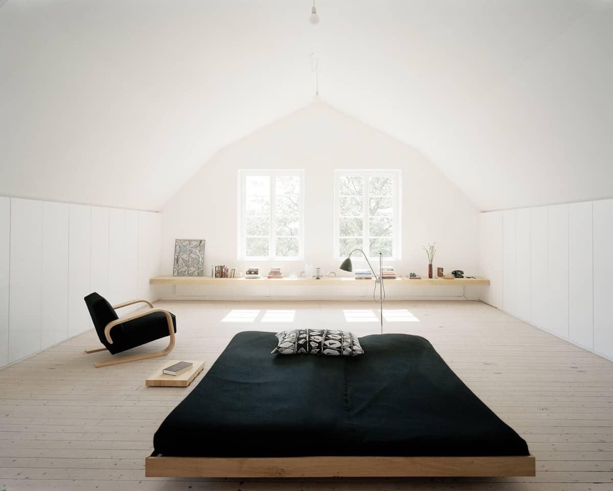 black and wood minimalist bedroom