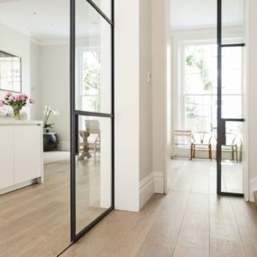 black framed pocket doors