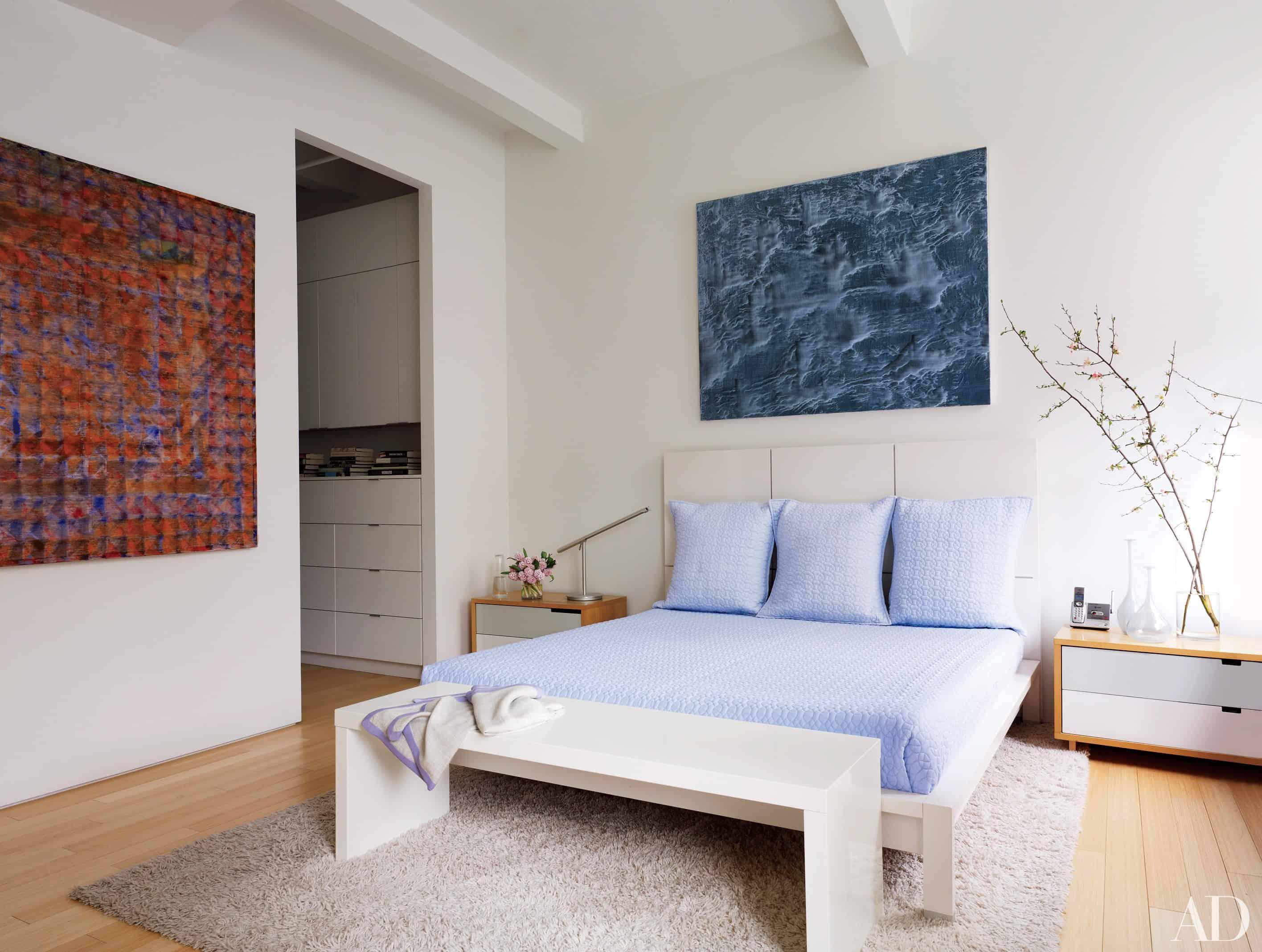 blue artistic minimal bedroom
