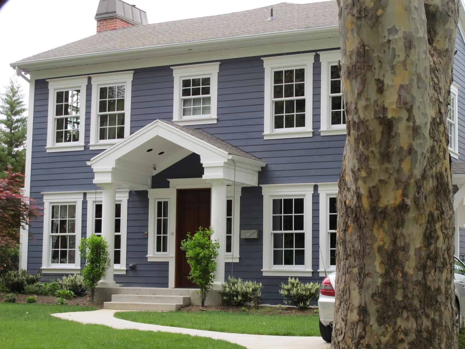 blue colonial style home
