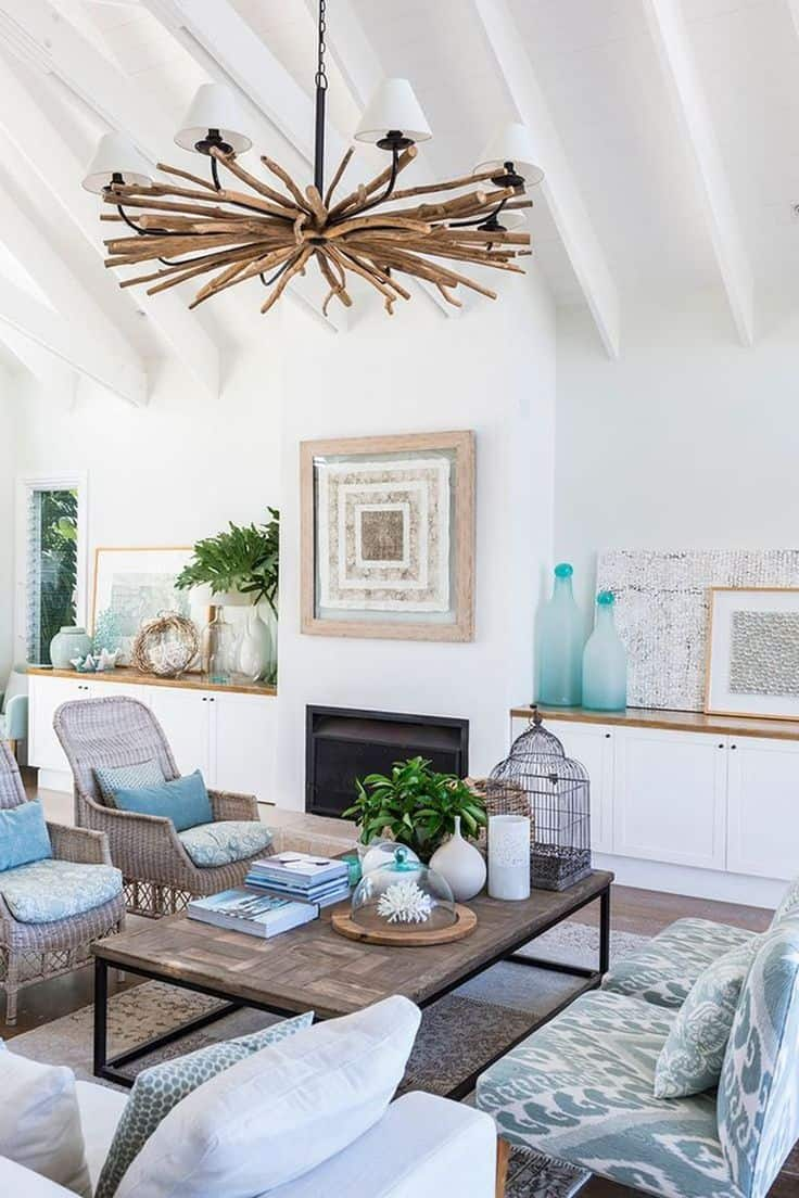 Blue decor adds a beachy vibe to the home which is always beautiful and warm.