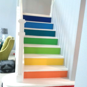 colorful stairs 285x285 10 Creative Ways to Upgrade Your Staircase