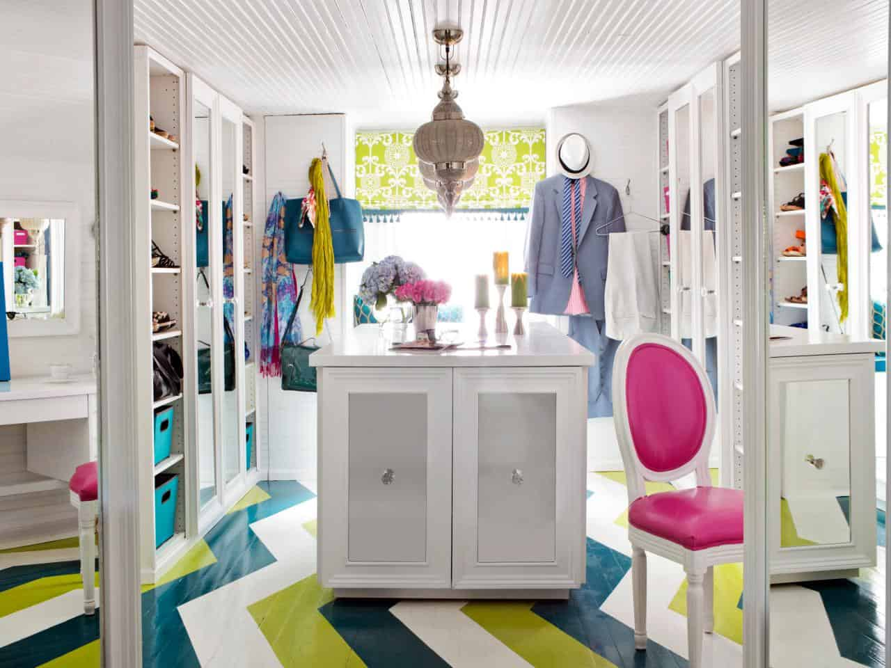 Adding color to your walk-in closet does not need to be difficult.