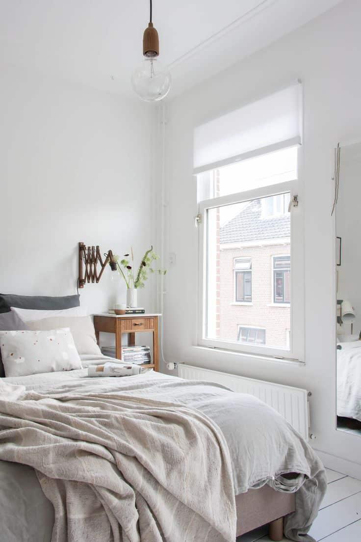 cream and grey minimal bedroom