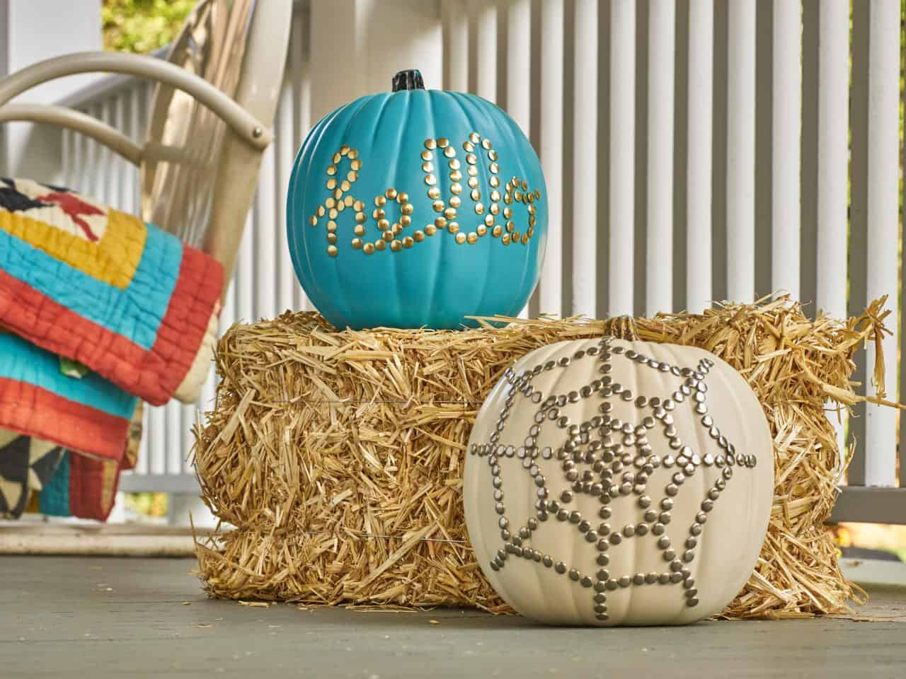 Faux pumpkins are excellent outdoors.