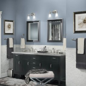Combine your grayish blue walls with dark tone furniture for a classic look that works well with any other decor you may have. Add silver tones to bring out the gray tone in your grayish blue hue.