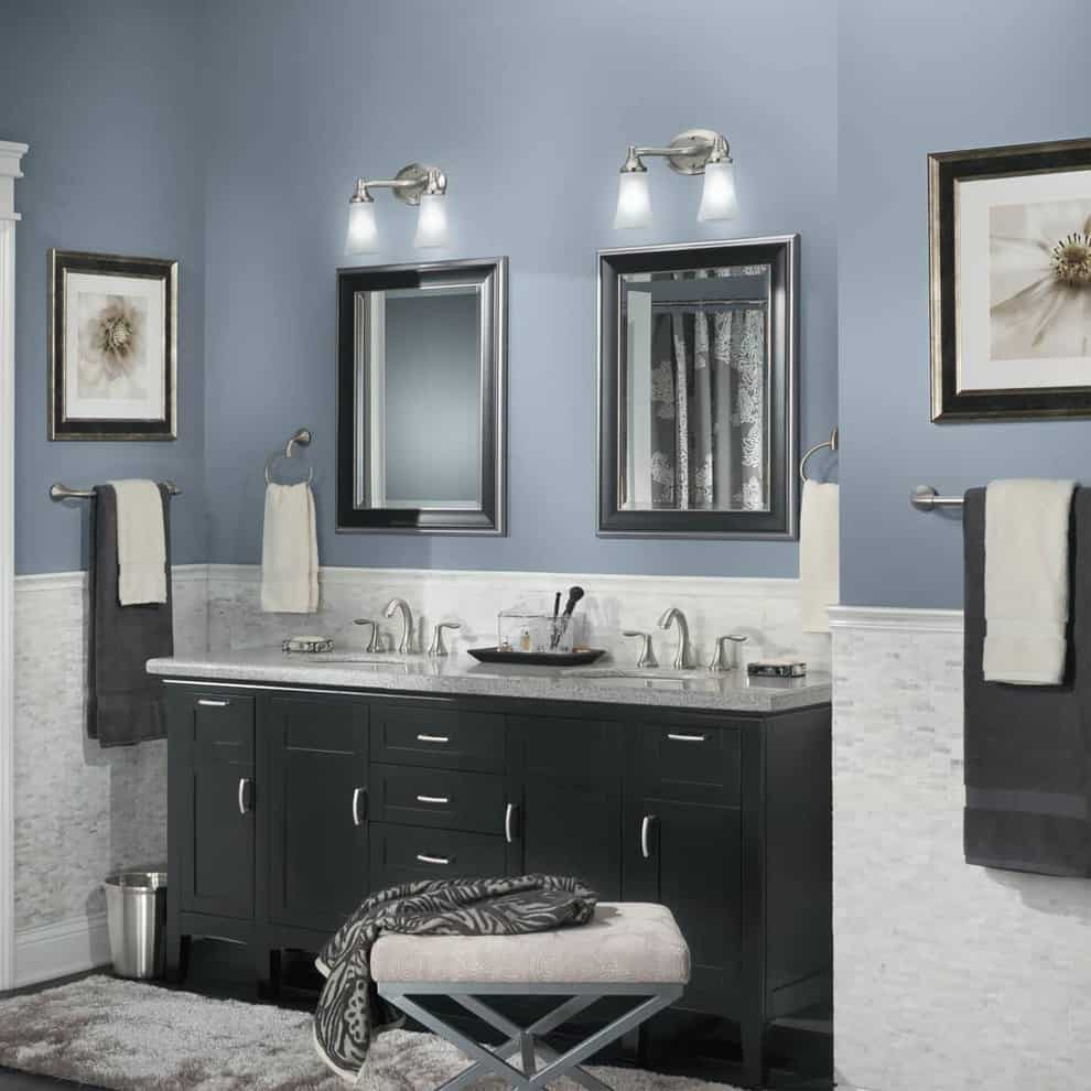 grayish blue bathroom Bathroom Paint Colors That Always Look Fresh and Clean