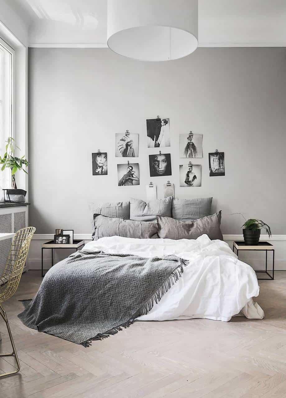 grey plush minimal bedroom design