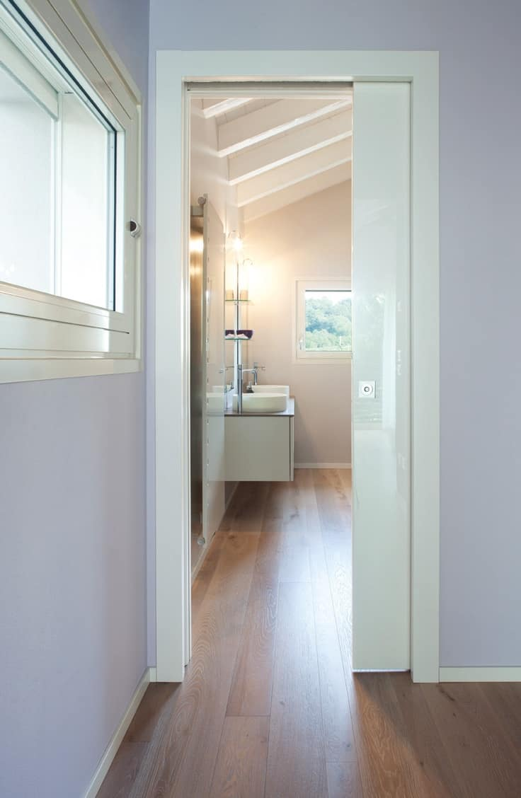high gloss bathroom pocket door