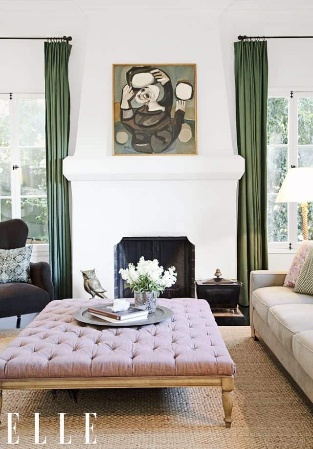 large blush tufted coffee table
