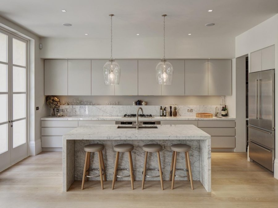 light grey and white kitchen wine glass lighting 900x675 40 Romantic and Welcoming Grey Kitchens For Your Home