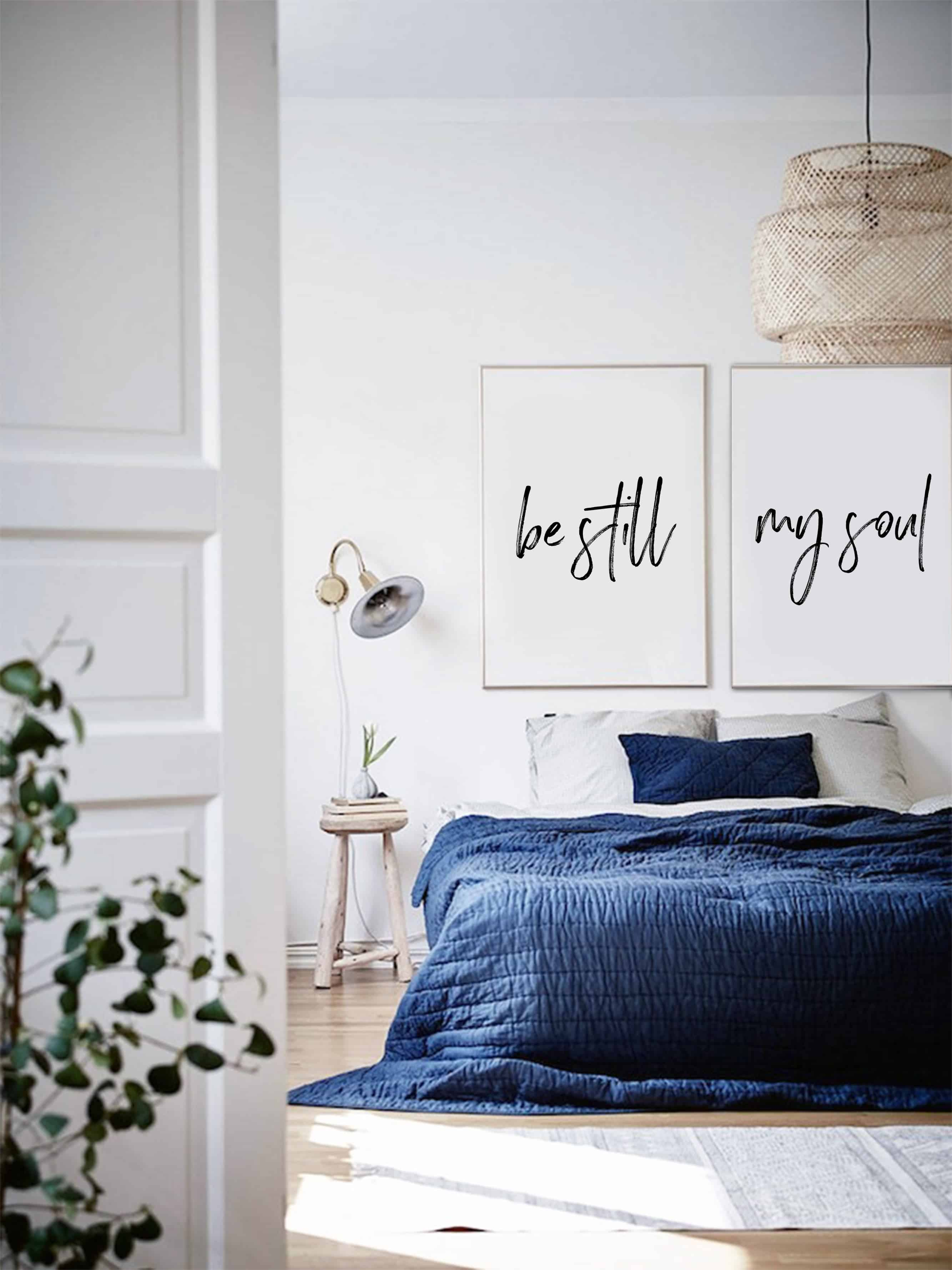 minimal bedroom with royal blue