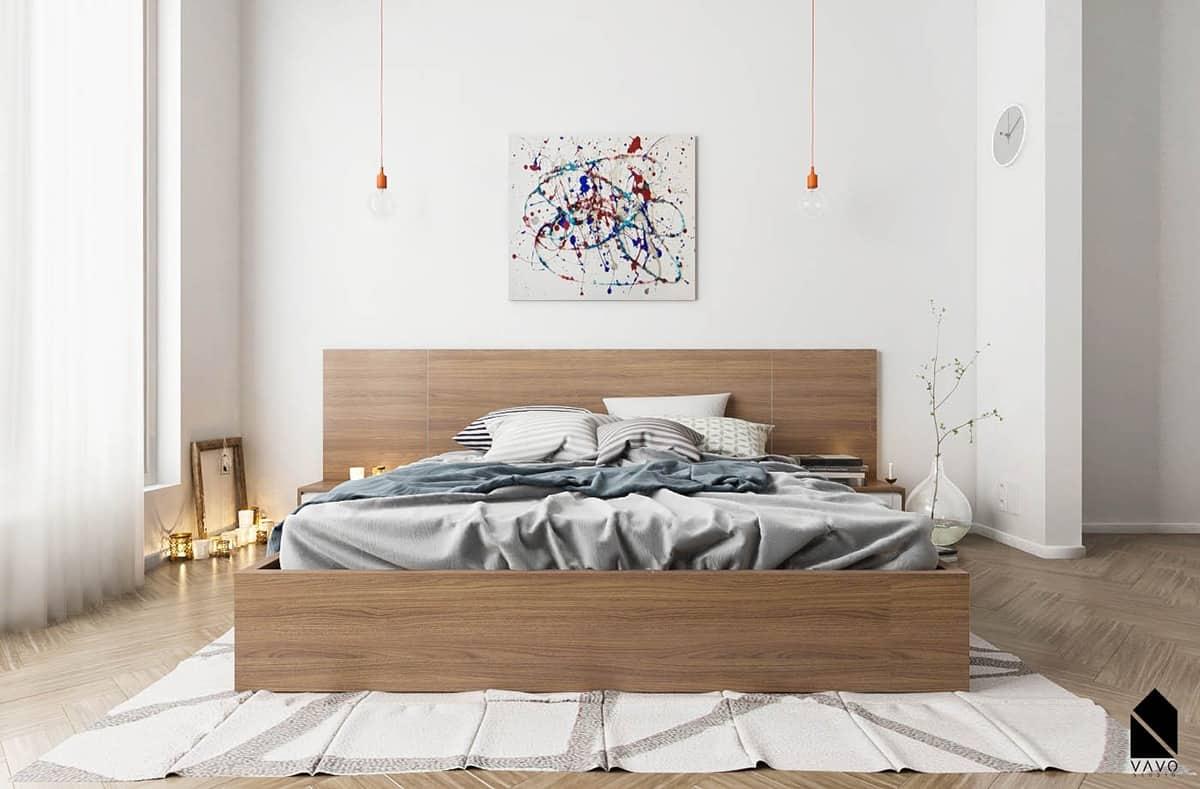 minimal bedroom with wooden platform bed