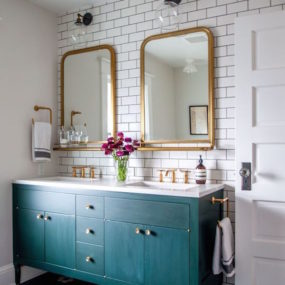 modern trendy bathroom vanity with green