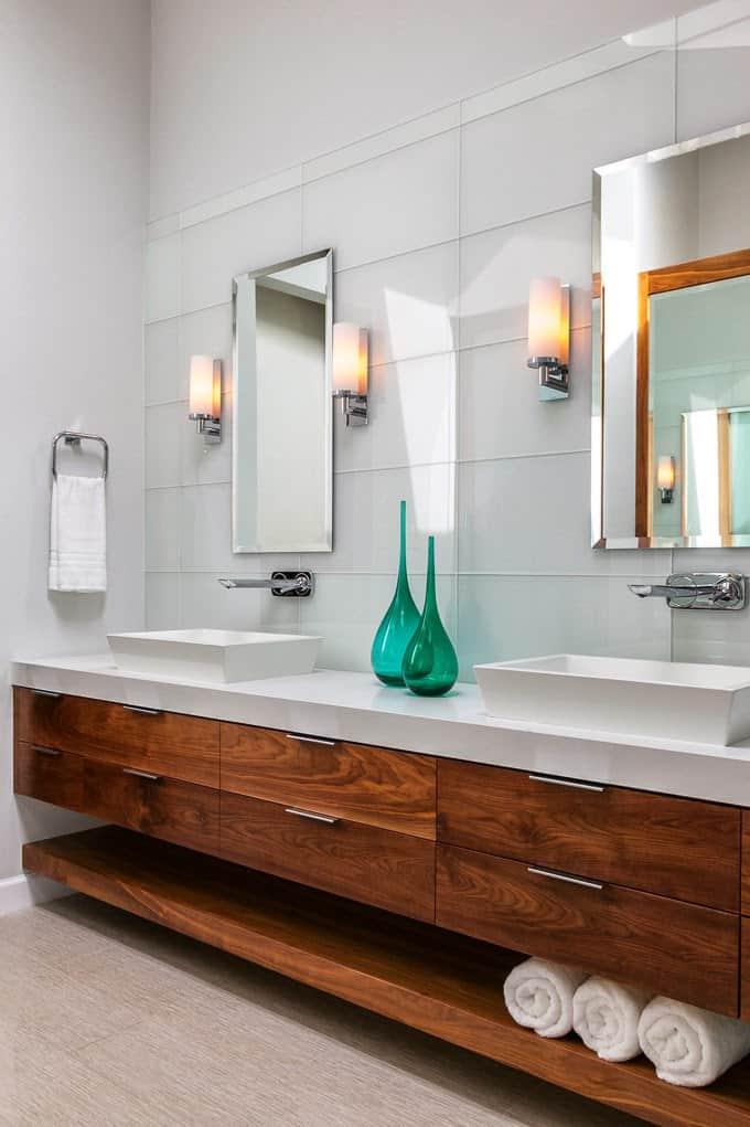 modern wooden with storage bathroom vanity
