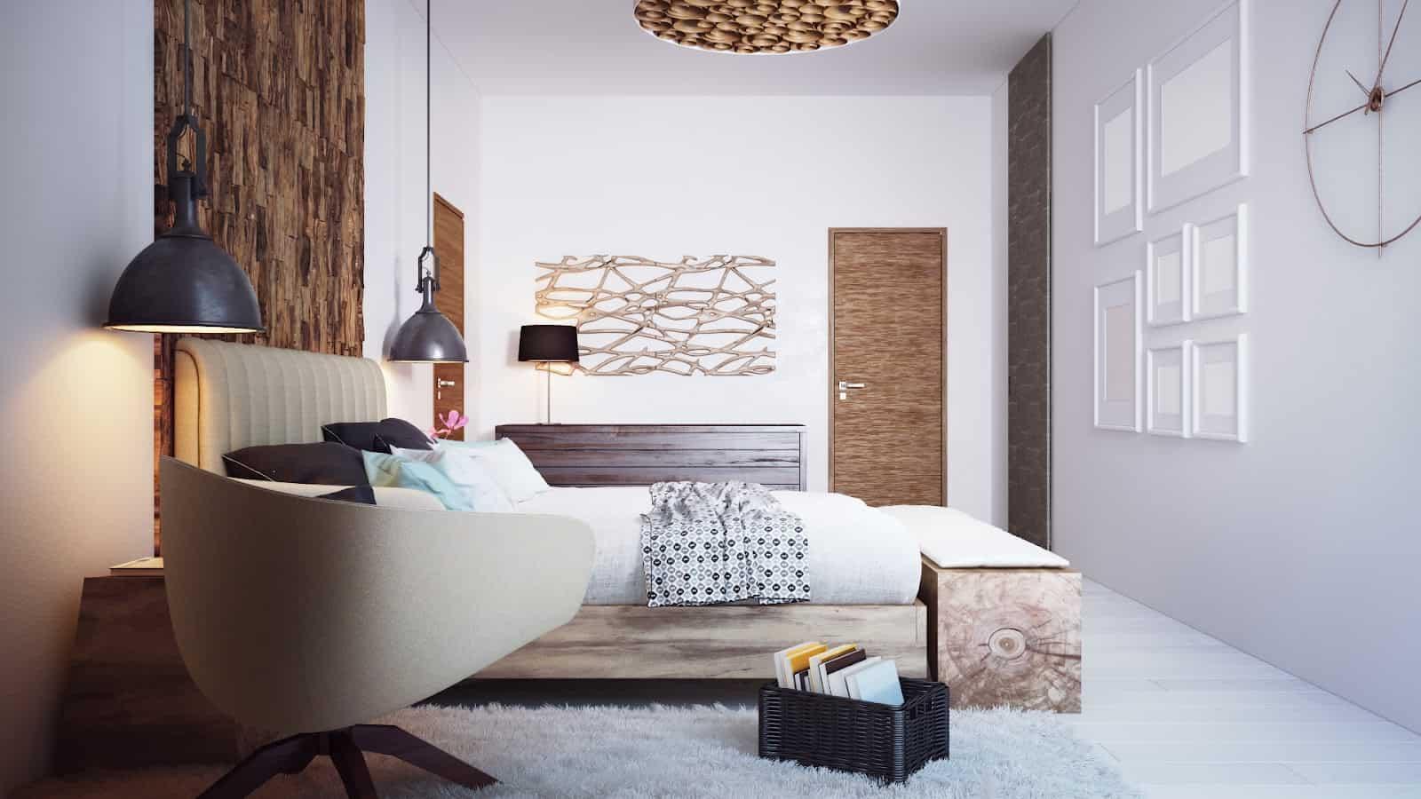 natural textured minimal bedroom
