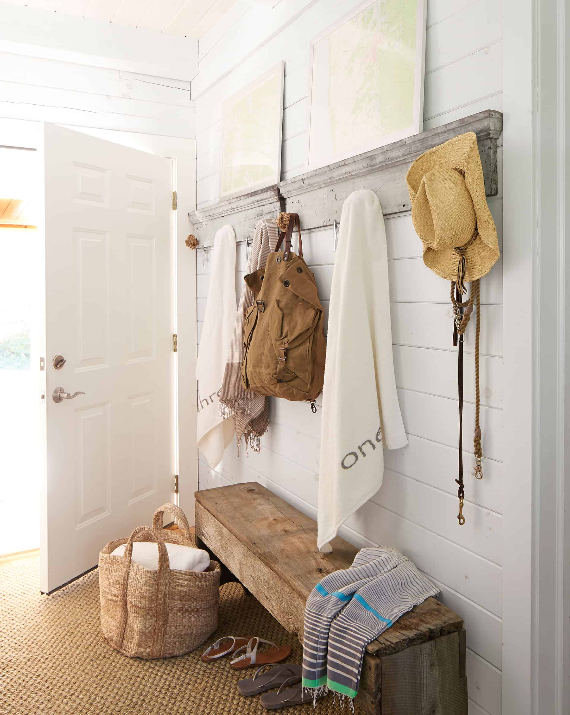 natural wood mudroom bench