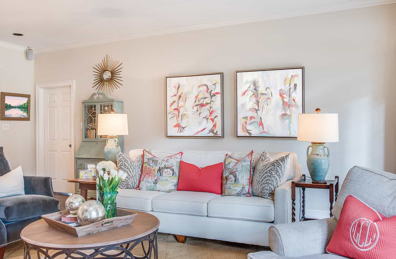 Bring the entire look together by having pink art pieces that match your decor.
