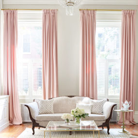 Pink drapes may be exactly what your neutral room may need.