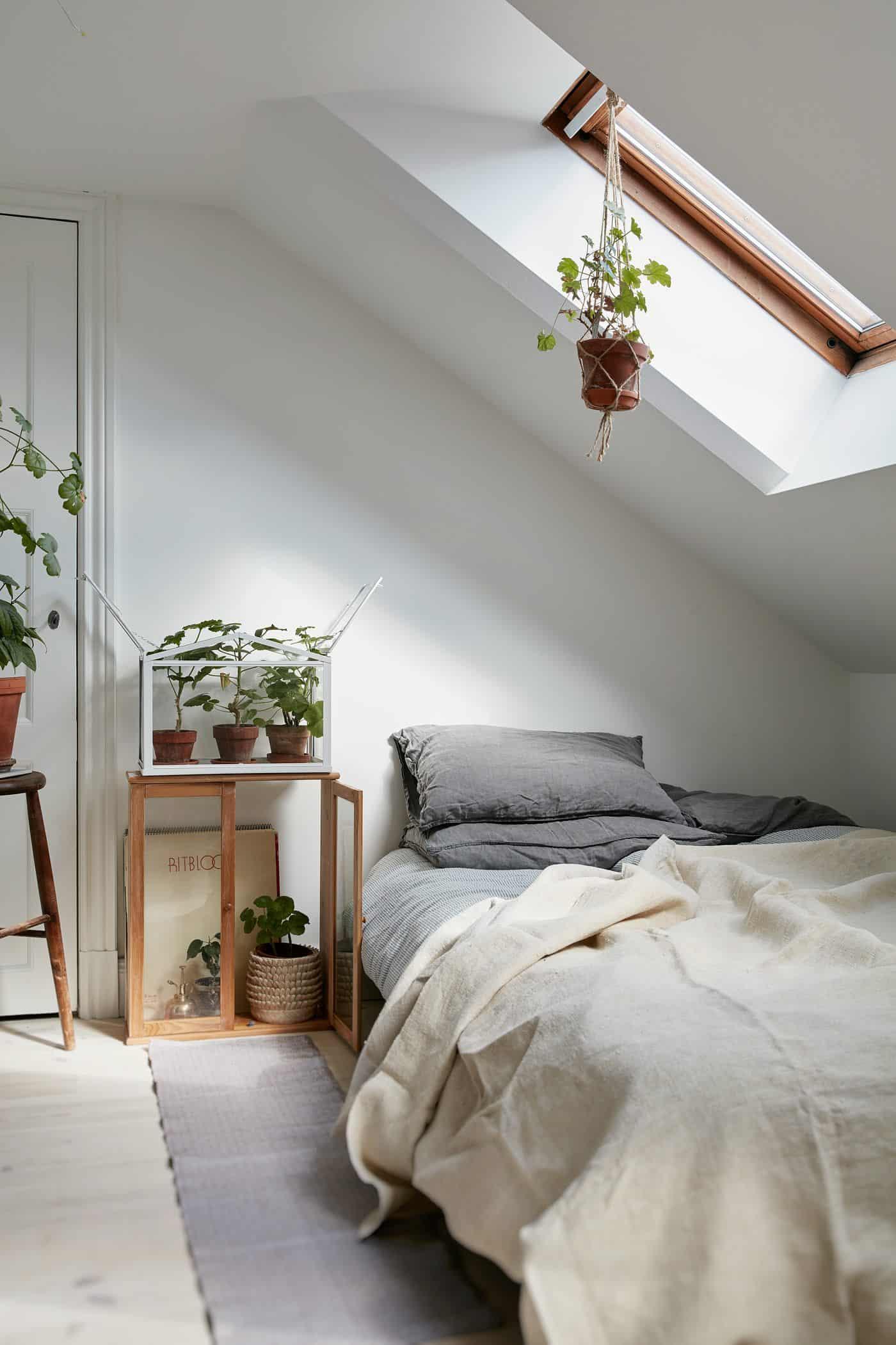 plant-filled minimalist bedroom
