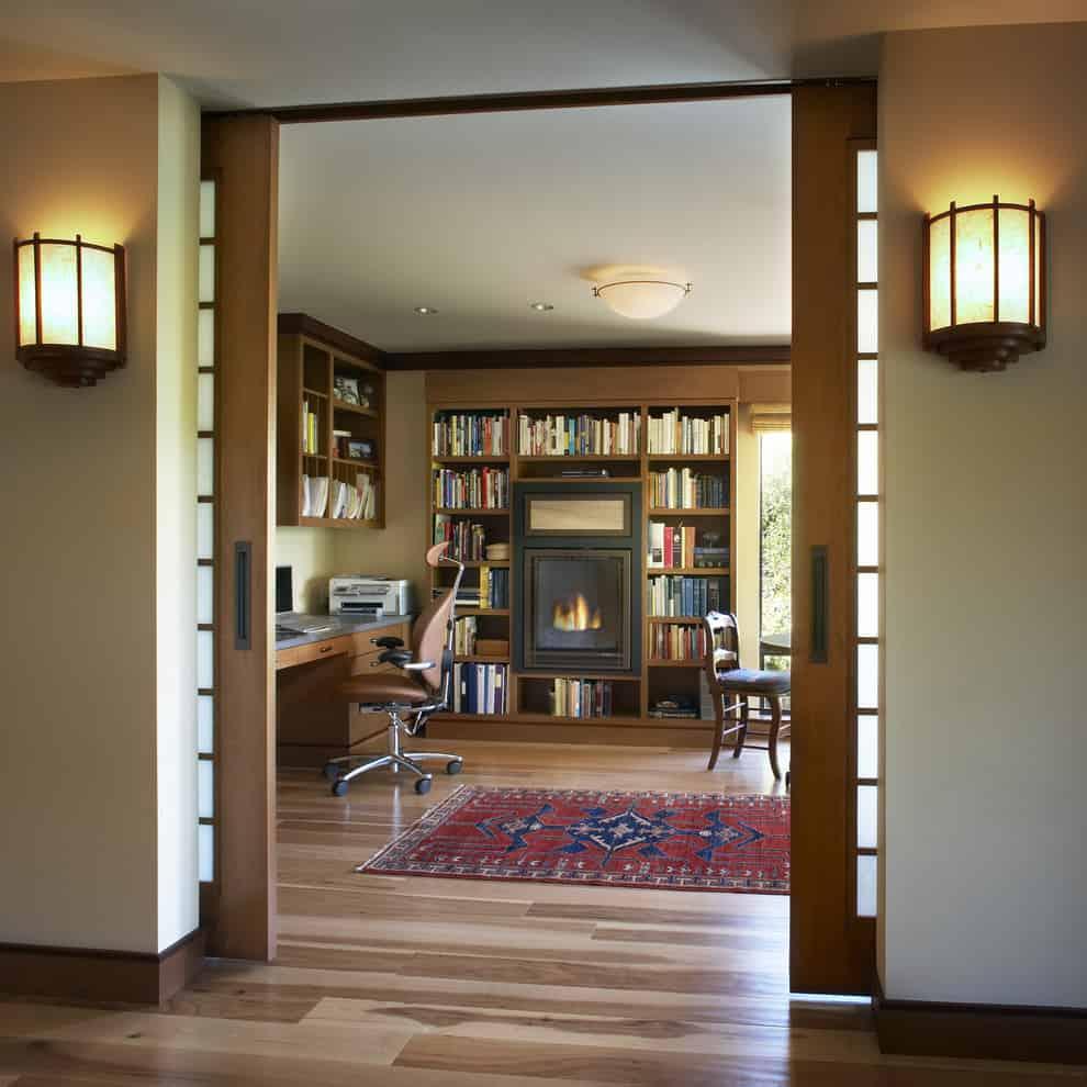 pocket door wooden contemporary home office