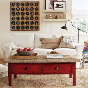 If you can't quite figure out how to include a pop of color into your decorative space paint your wooden coffee table.