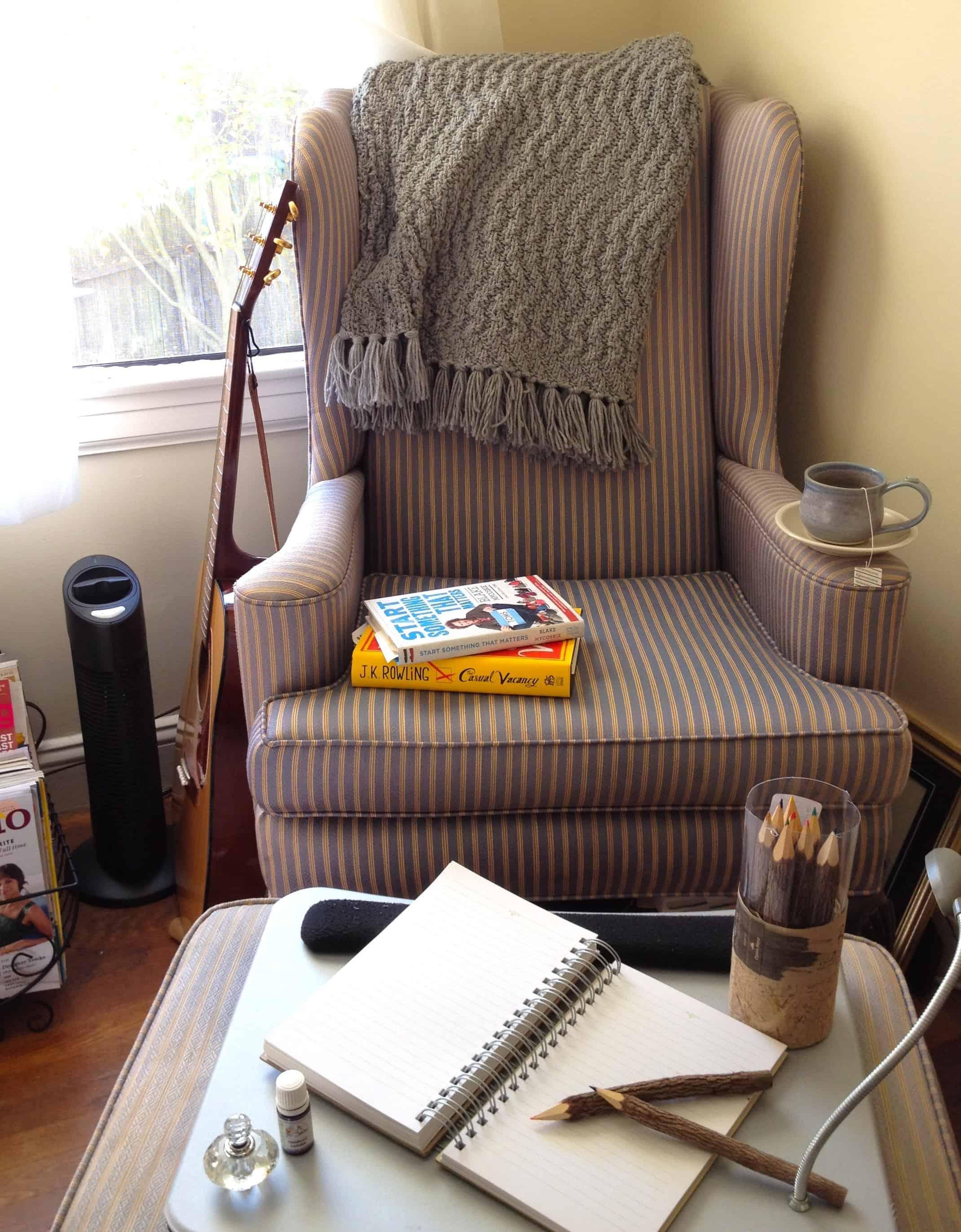 printed vintage reading chair