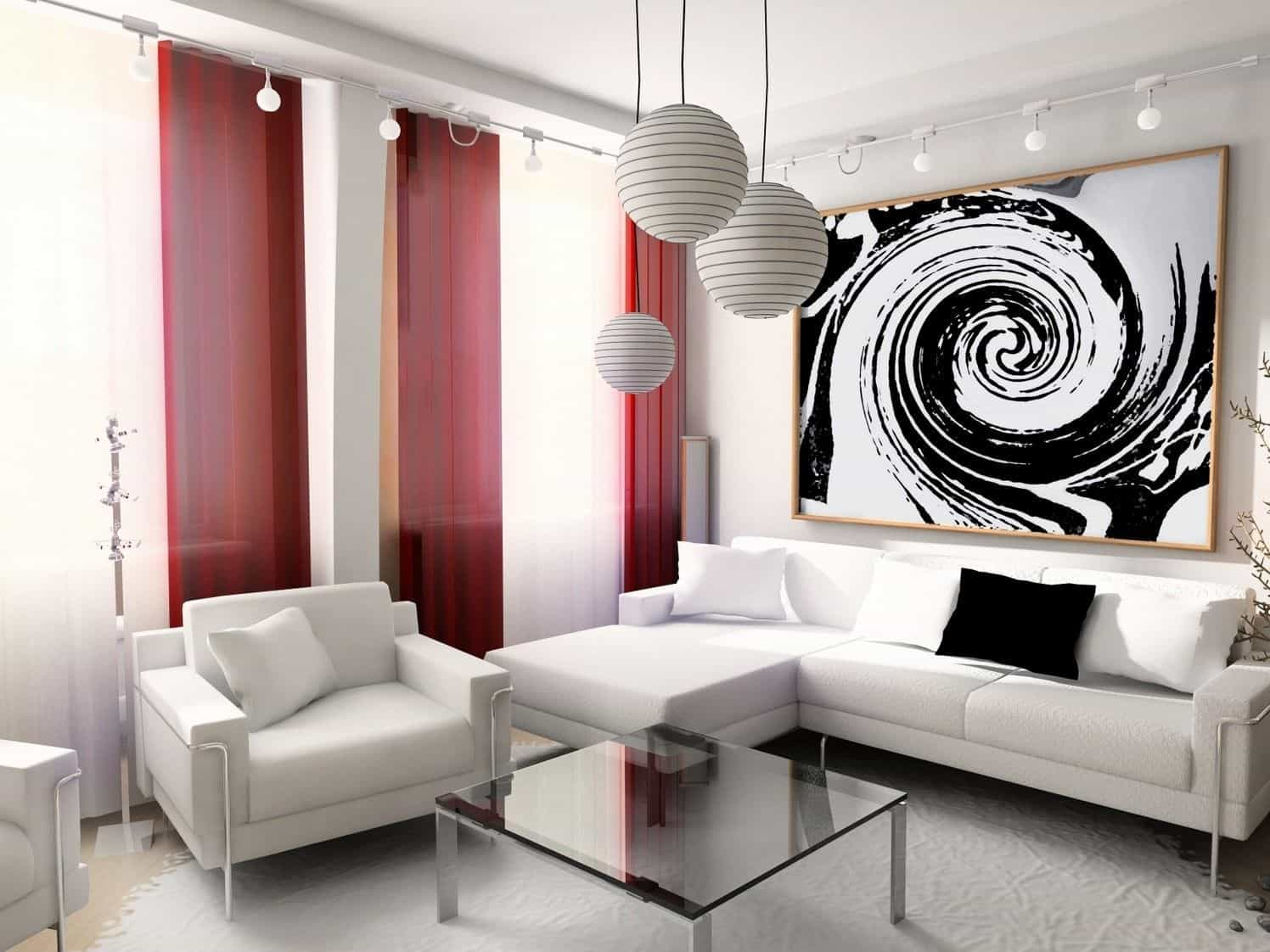 In a simple room, red curtains can make all the difference.