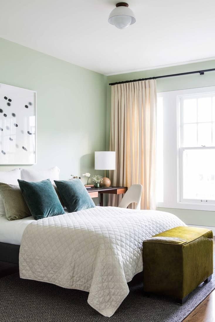 simple minimal green guest bedroom