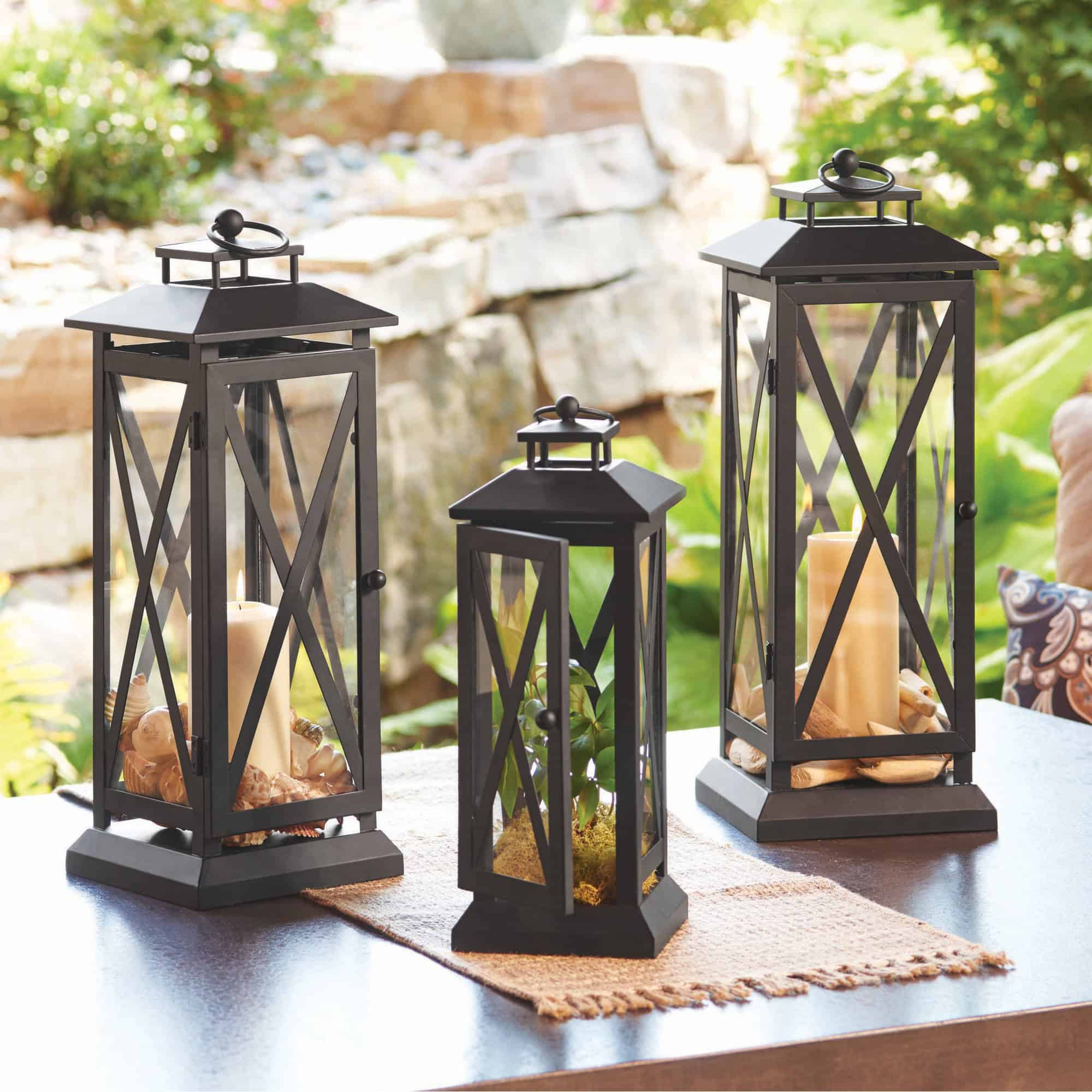 Lanterns with some sort of intricate shape or design are best as they give the illusion of more charm in the space.