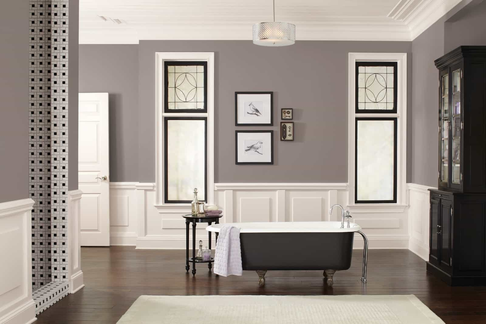 Taupe is a powerful color. It will make a statement anywhere it is placed. Keep the bathroom neutral and with minimal items in order to give the color its maximum potential of being the focal point